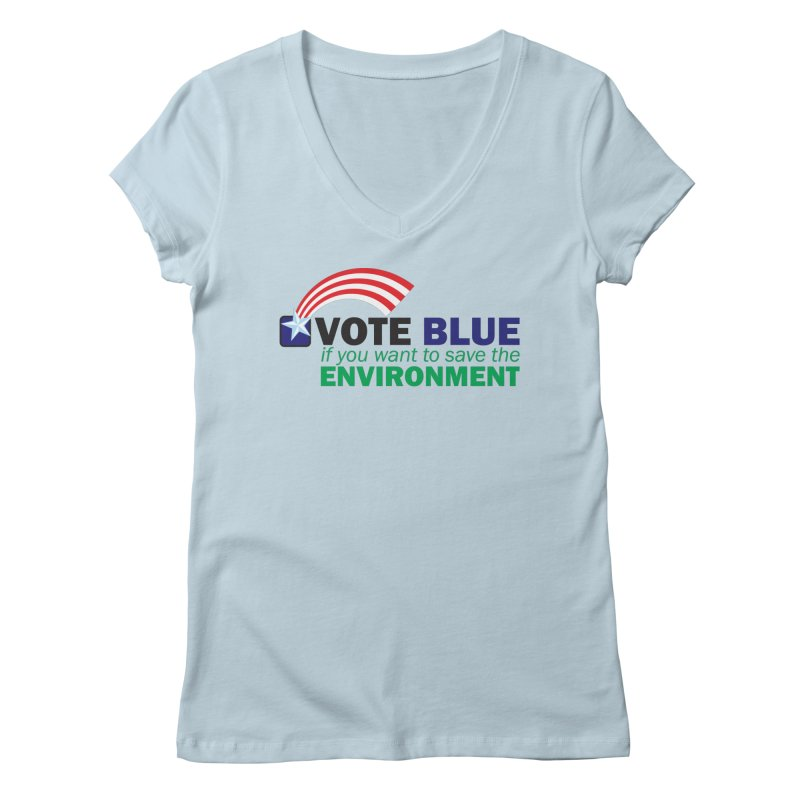 VOTE BLUE for the ENVIRONMENT Women's V-Neck by Peregrinus Creative