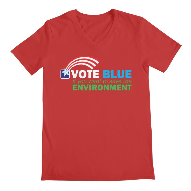 VOTE BLUE for the ENVIRONMENT reversed Men's V-Neck by Peregrinus Creative