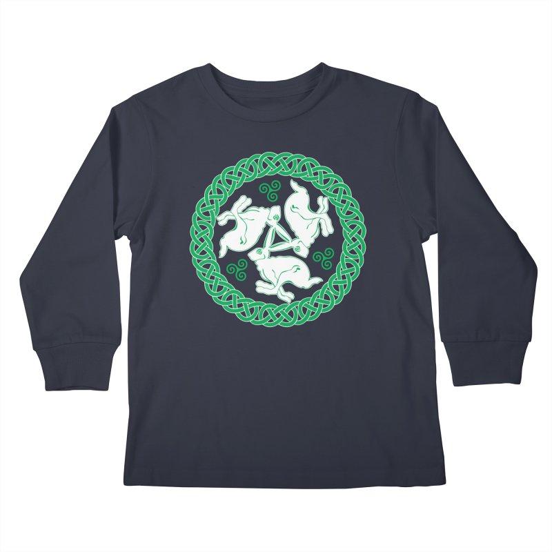 Celtic Triskele Hares Kids Longsleeve T-Shirt by Peregrinus Creative