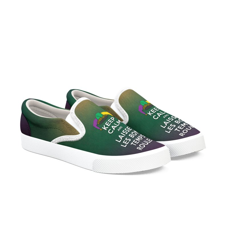 KEEP CALM and LAISSEZ LES BONS TEMPS ROULER reversed Women's Slip-On Shoes by Peregrinus Creative