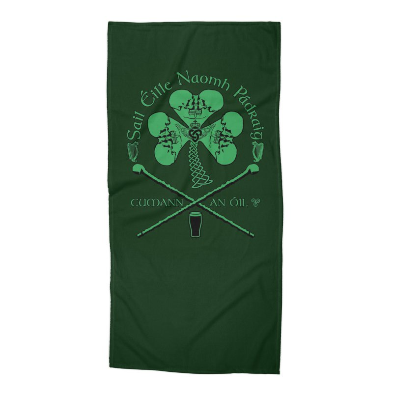 Saint Patrick's Shillelagh Drinking Society Accessories Beach Towel by Peregrinus Creative