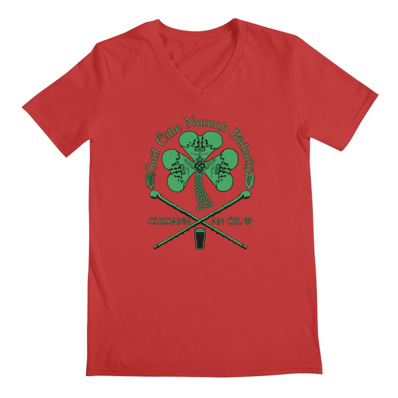 Saint Patrick's Shillelagh Drinking Society Men's Regular V-Neck by Peregrinus Creative