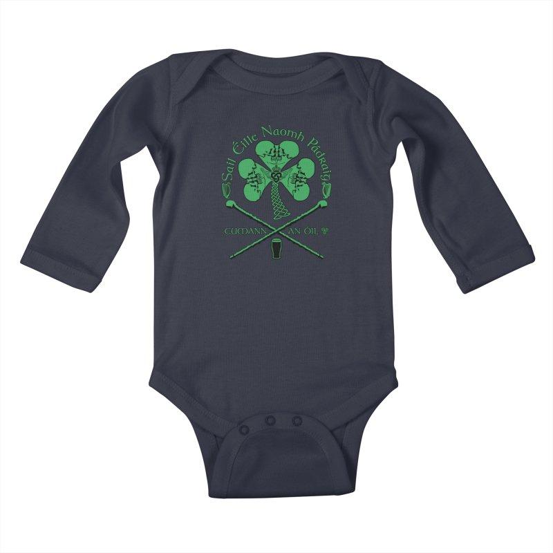 Saint Patrick's Shillelagh Drinking Society Kids Baby Longsleeve Bodysuit by Peregrinus Creative