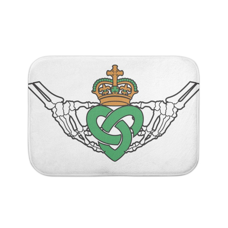 Gothic inspired Claddagh with Celtic Knot Home Bath Mat by Peregrinus Creative