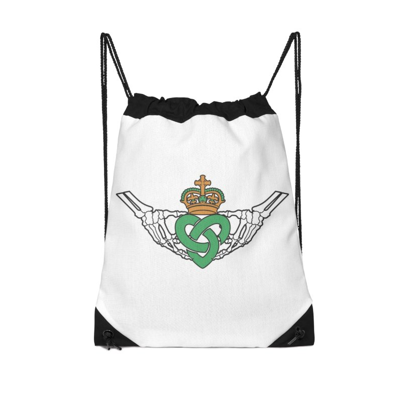 Gothic inspired Claddagh with Celtic Knot Accessories Drawstring Bag Bag by Peregrinus Creative
