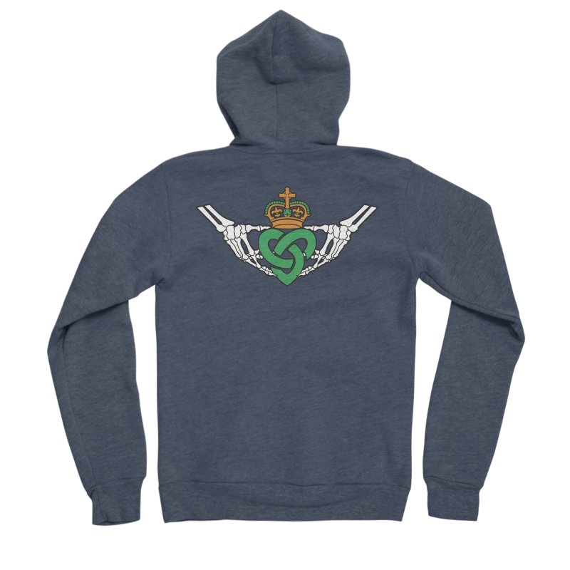 Gothic inspired Claddagh with Celtic Knot Men's Sponge Fleece Zip-Up Hoody by Peregrinus Creative