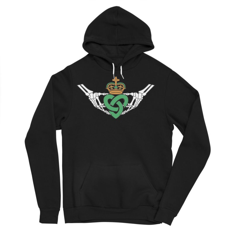 Gothic inspired Claddagh with Celtic Knot Men's Sponge Fleece Pullover Hoody by Peregrinus Creative