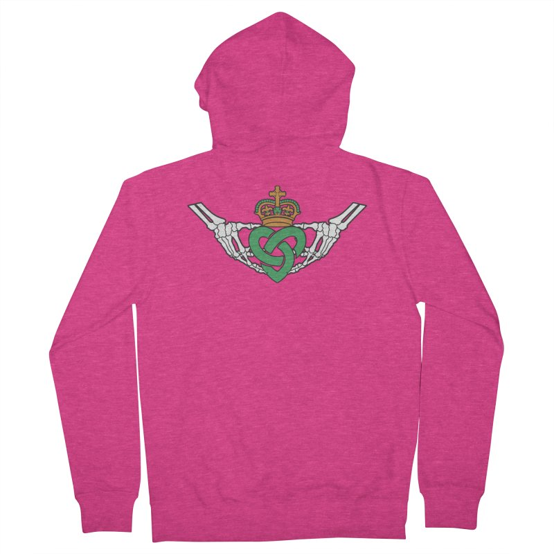 Gothic inspired Claddagh with Celtic Knot Women's French Terry Zip-Up Hoody by Peregrinus Creative