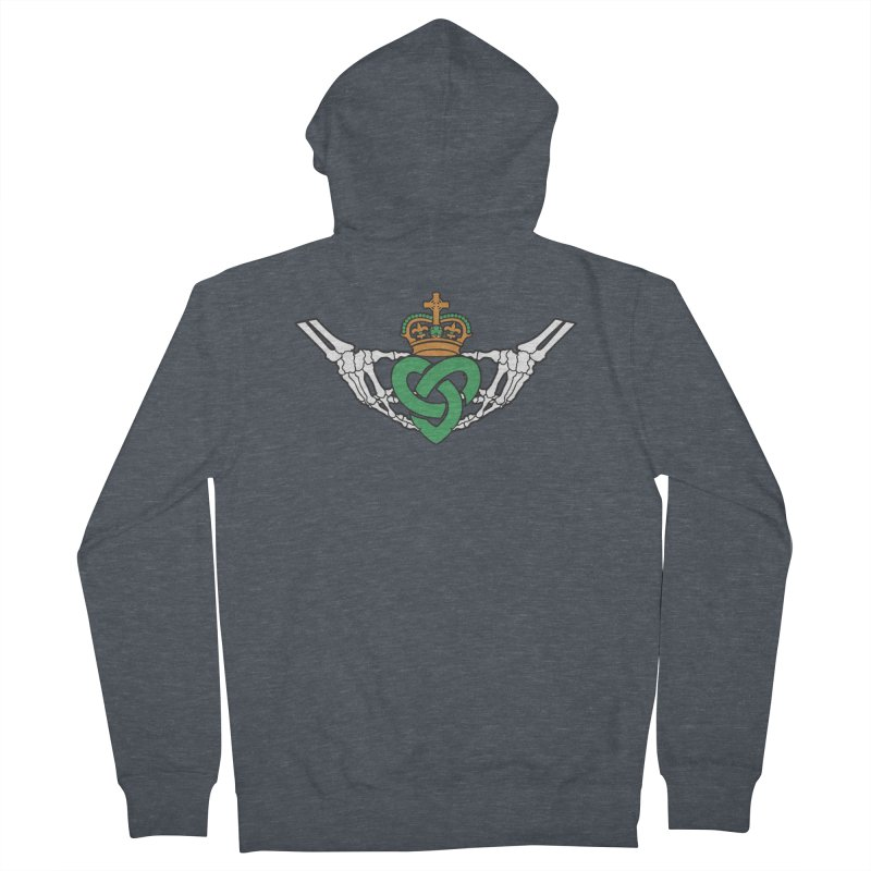 Gothic inspired Claddagh with Celtic Knot Men's French Terry Zip-Up Hoody by Peregrinus Creative