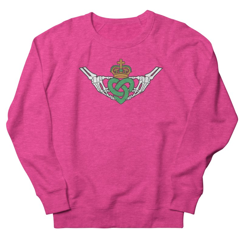 Gothic inspired Claddagh with Celtic Knot Women's French Terry Sweatshirt by Peregrinus Creative