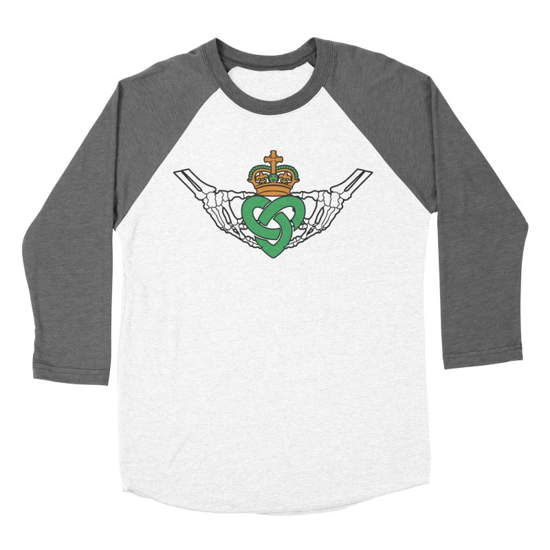 Gothic inspired Claddagh with Celtic Knot Women's Baseball Triblend Longsleeve T-Shirt by Peregrinus Creative