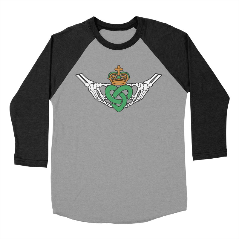 Gothic inspired Claddagh with Celtic Knot Men's Baseball Triblend Longsleeve T-Shirt by Peregrinus Creative
