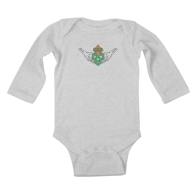Gothic inspired Claddagh with Celtic Knot Kids Baby Longsleeve Bodysuit by Peregrinus Creative
