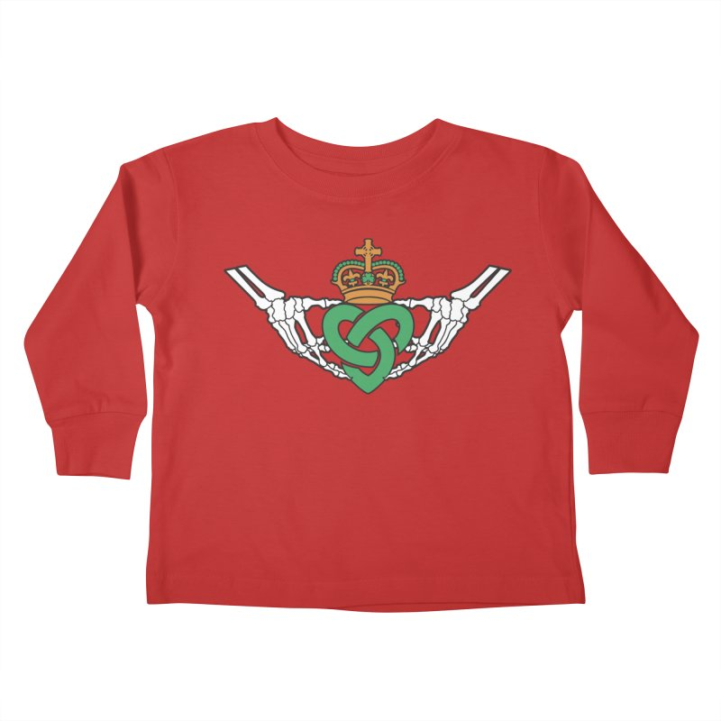 Gothic inspired Claddagh with Celtic Knot Kids Toddler Longsleeve T-Shirt by Peregrinus Creative