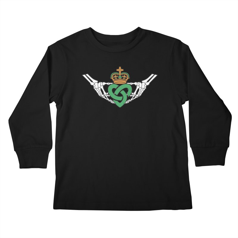 Gothic inspired Claddagh with Celtic Knot Kids Longsleeve T-Shirt by Peregrinus Creative