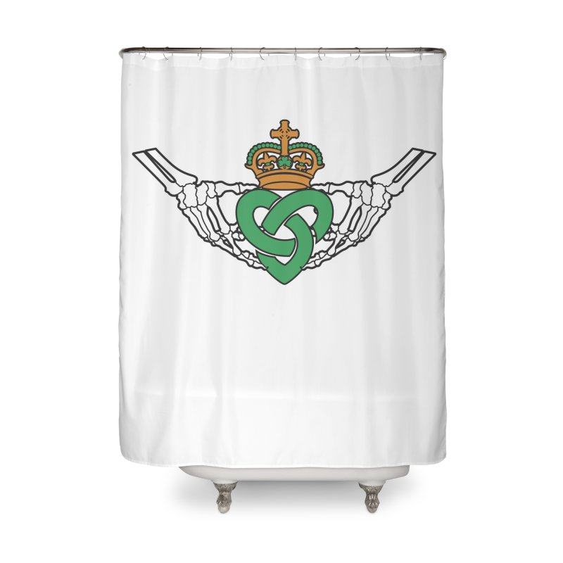 Gothic inspired Claddagh with Celtic Knot Home Shower Curtain by Peregrinus Creative