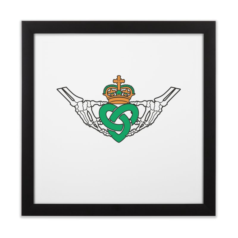 Gothic inspired Claddagh with Celtic Knot Home Framed Fine Art Print by Peregrinus Creative