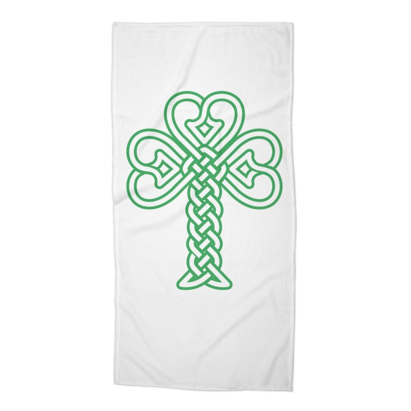 Celtic Shamrock knotwork Accessories Beach Towel by Peregrinus Creative