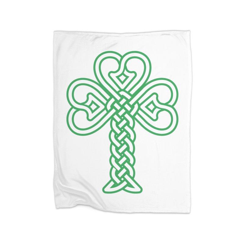 Celtic Shamrock knotwork Home Fleece Blanket Blanket by Peregrinus Creative