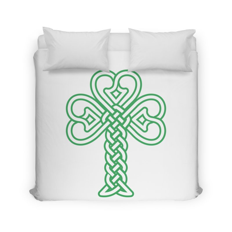 Celtic Shamrock knotwork Home Duvet by Peregrinus Creative