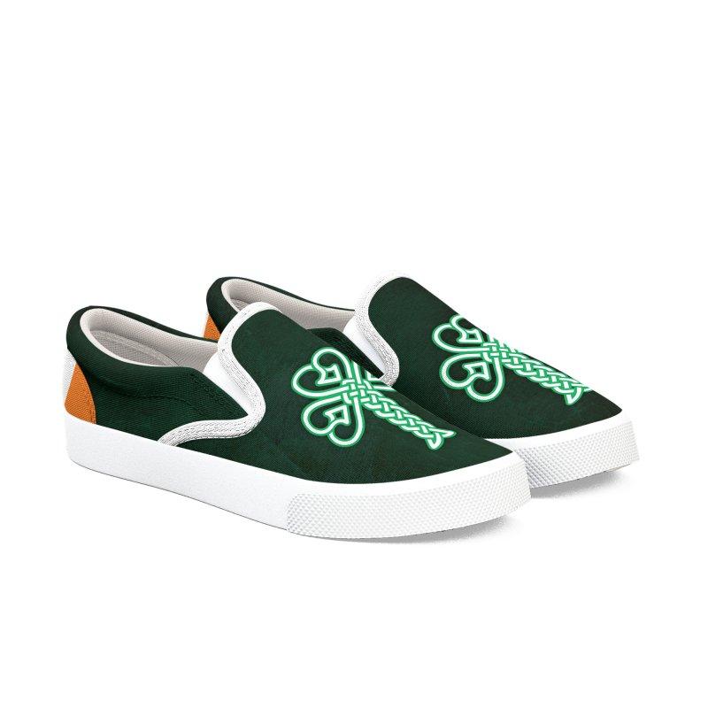 Celtic Shamrock knotwork Women's Slip-On Shoes by Peregrinus Creative