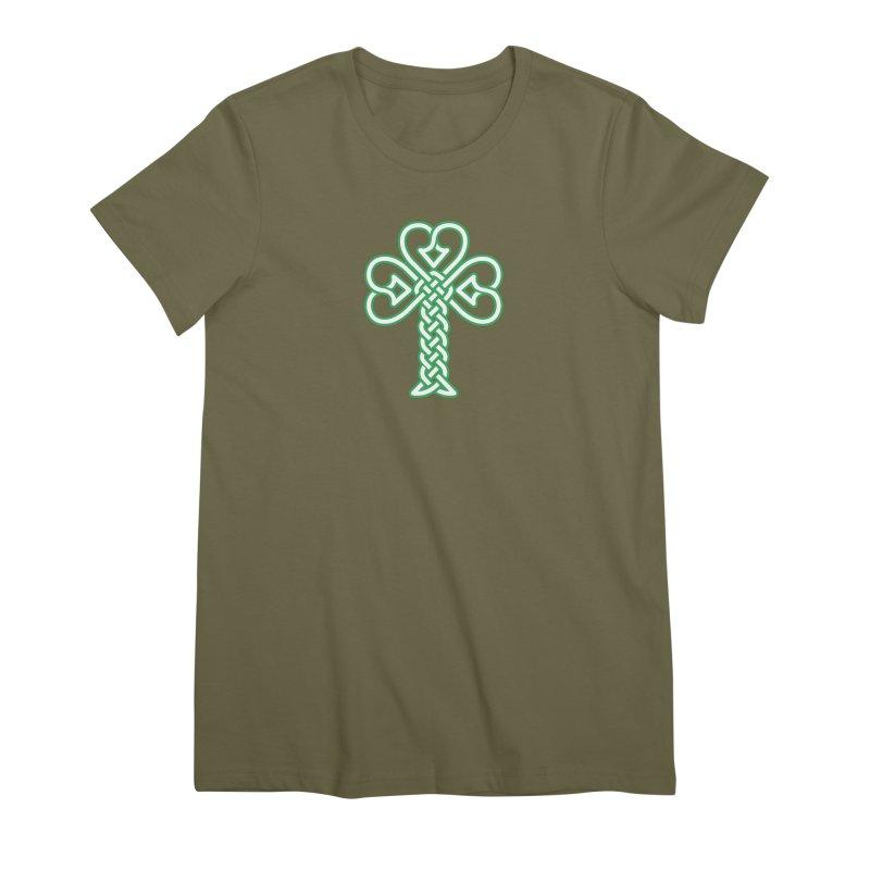 Celtic Shamrock knotwork Women's Premium T-Shirt by Peregrinus Creative