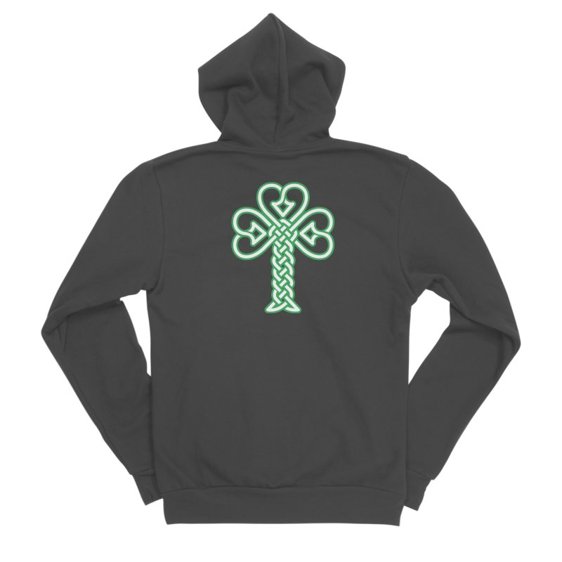 Celtic Shamrock knotwork Women's Sponge Fleece Zip-Up Hoody by Peregrinus Creative