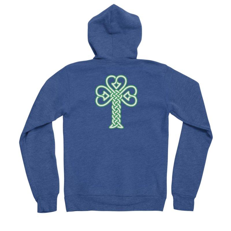 Celtic Shamrock knotwork Men's Sponge Fleece Zip-Up Hoody by Peregrinus Creative
