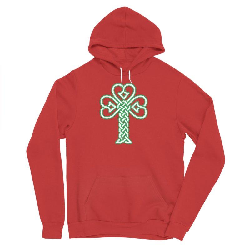 Celtic Shamrock knotwork Men's Sponge Fleece Pullover Hoody by Peregrinus Creative