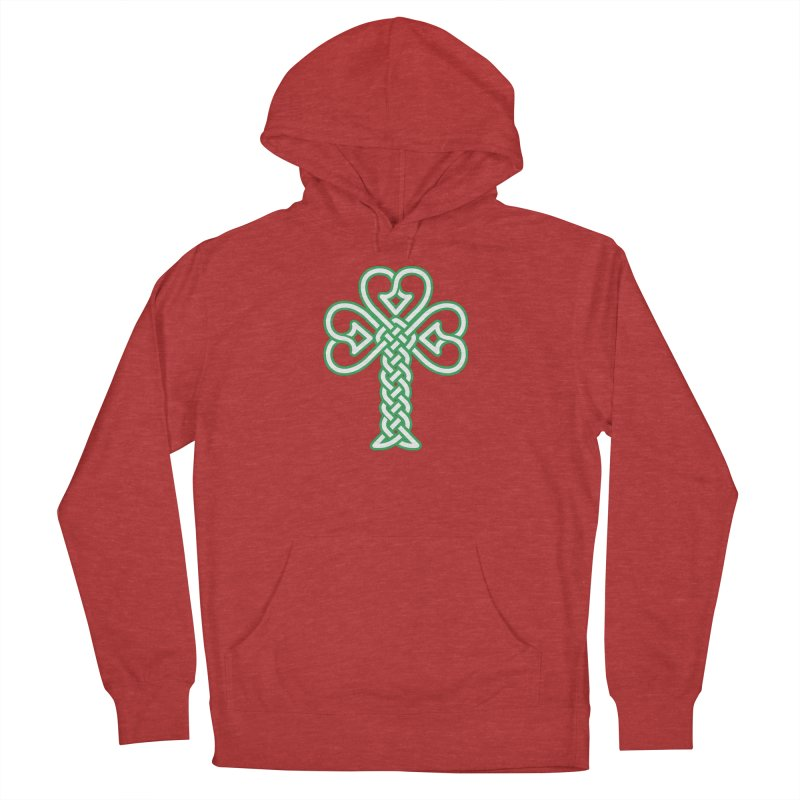 Celtic Shamrock knotwork Men's French Terry Pullover Hoody by Peregrinus Creative