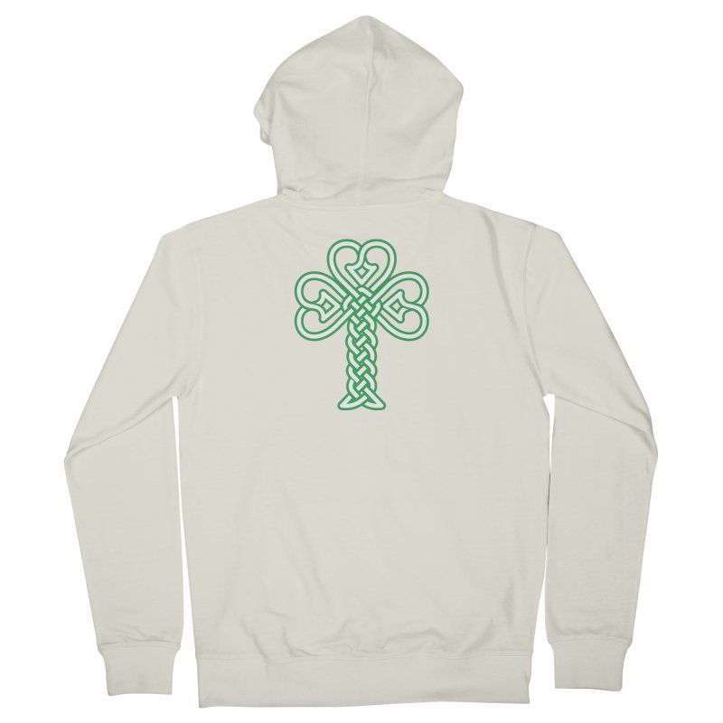 Celtic Shamrock knotwork Women's French Terry Zip-Up Hoody by Peregrinus Creative