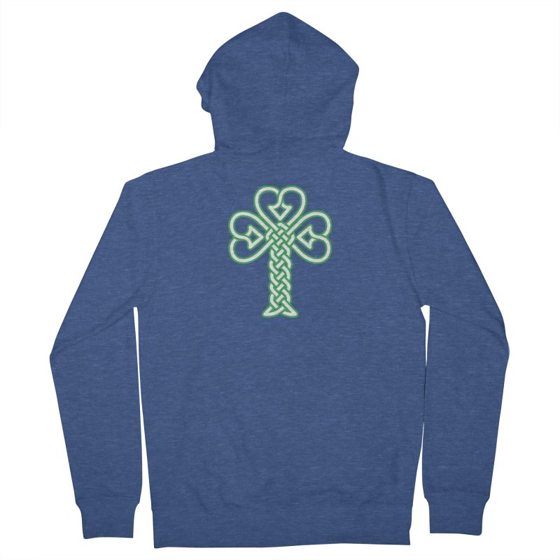 Celtic Shamrock knotwork Men's French Terry Zip-Up Hoody by Peregrinus Creative