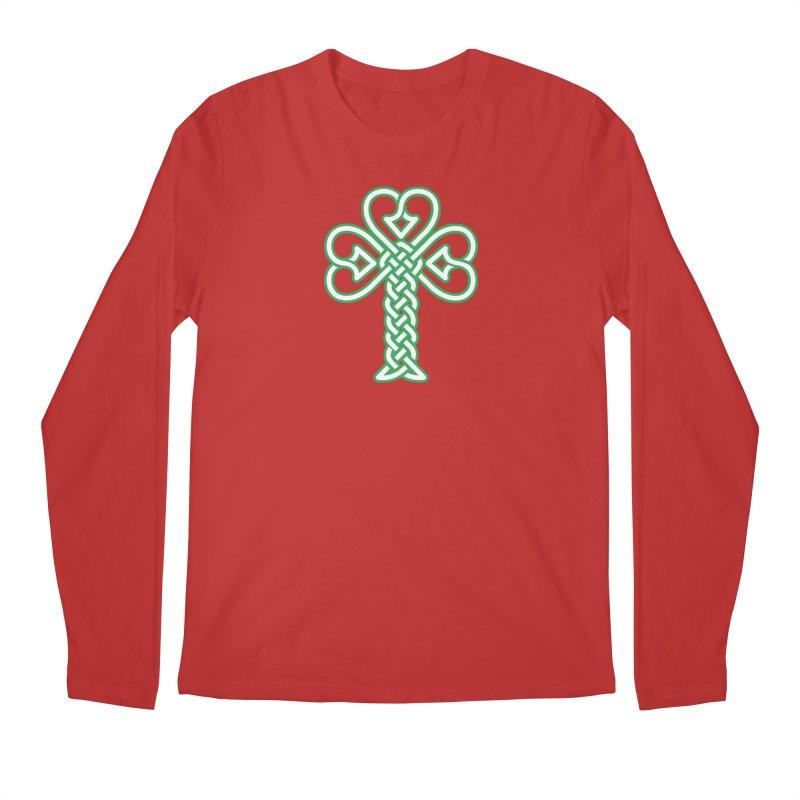 Celtic Shamrock knotwork Men's Regular Longsleeve T-Shirt by Peregrinus Creative