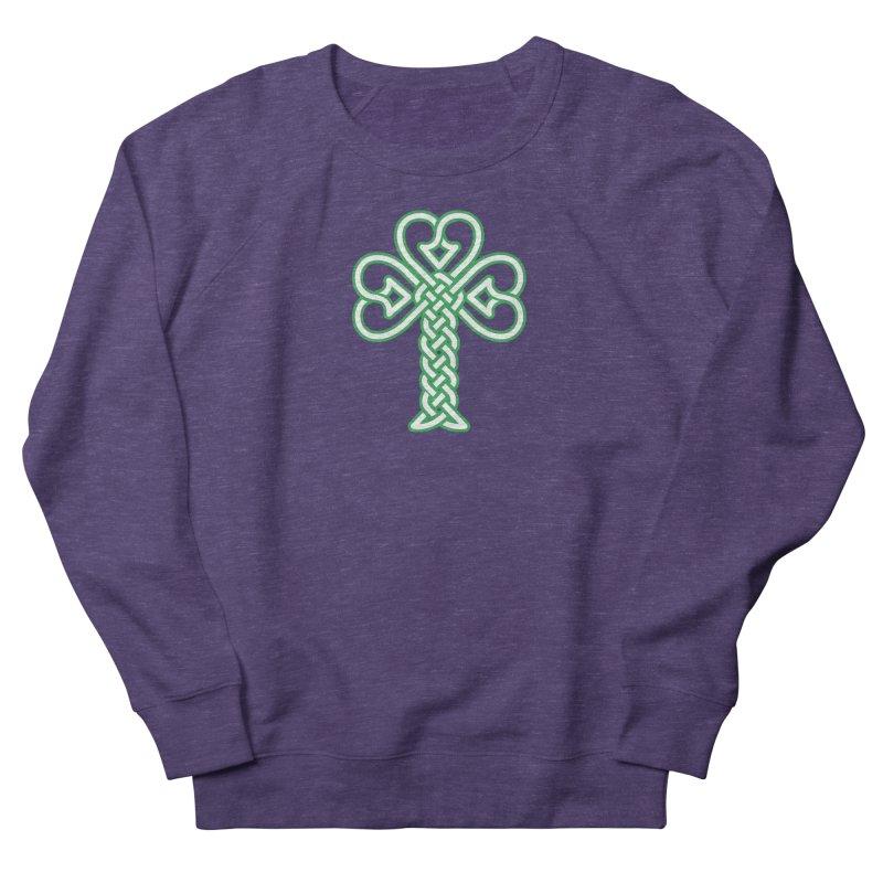 Celtic Shamrock knotwork Women's French Terry Sweatshirt by Peregrinus Creative