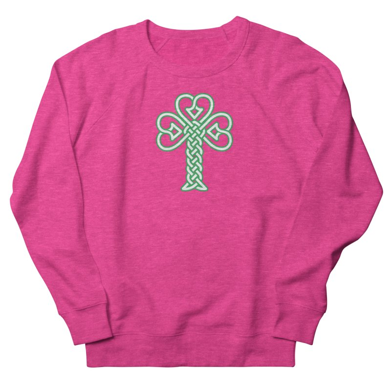 Celtic Shamrock knotwork Women's French Terry Sweatshirt by Peregrinus Creative