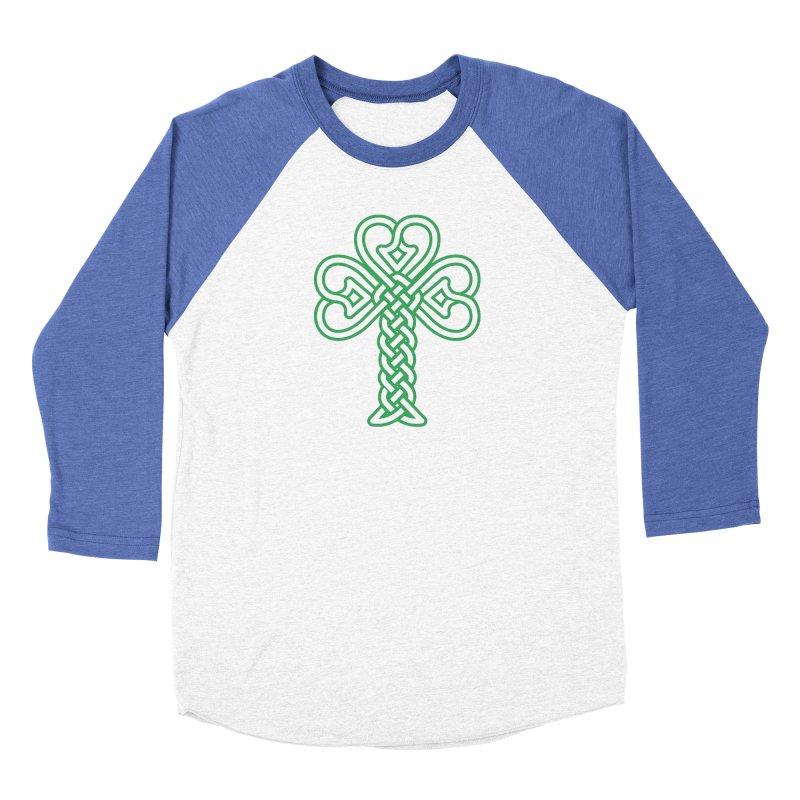 Celtic Shamrock knotwork Men's Baseball Triblend Longsleeve T-Shirt by Peregrinus Creative