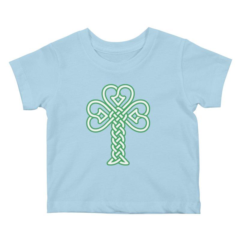 Celtic Shamrock knotwork Kids Baby T-Shirt by Peregrinus Creative