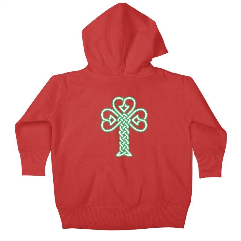 Celtic Shamrock knotwork Kids Baby Zip-Up Hoody by Peregrinus Creative