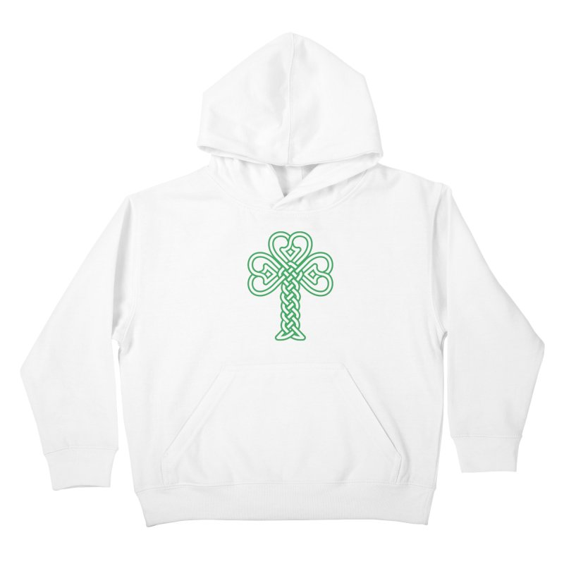 Celtic Shamrock knotwork Kids Pullover Hoody by Peregrinus Creative