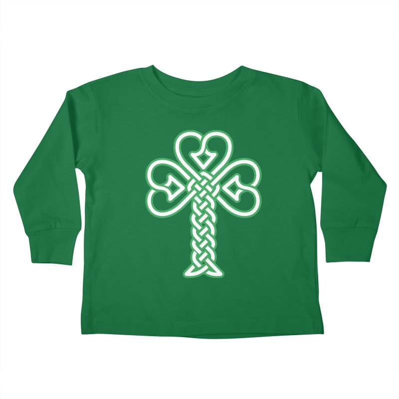 Celtic Shamrock knotwork Kids Toddler Longsleeve T-Shirt by Peregrinus Creative