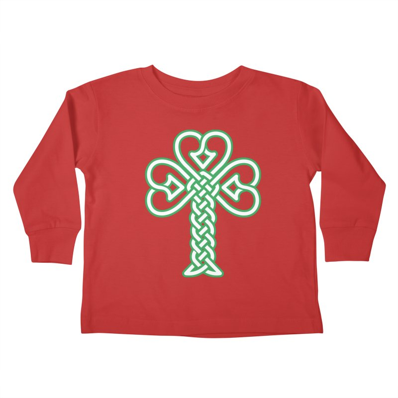 Celtic Shamrock knotwork Kids Toddler Longsleeve T-Shirt by Peregrinus Creative