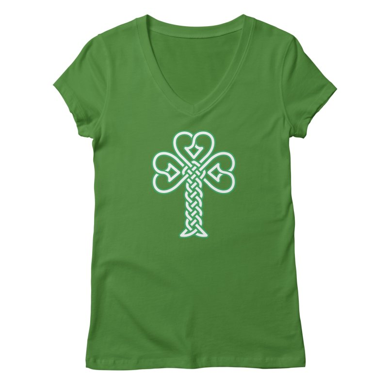 Celtic Shamrock knotwork Women's Regular V-Neck by Peregrinus Creative