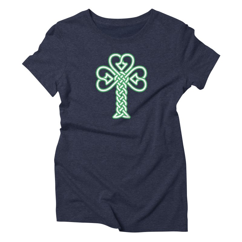 Celtic Shamrock knotwork Women's Triblend T-Shirt by Peregrinus Creative