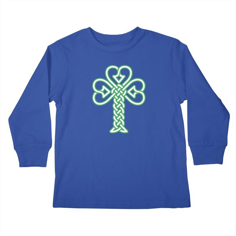 Celtic Shamrock knotwork Kids Longsleeve T-Shirt by Peregrinus Creative