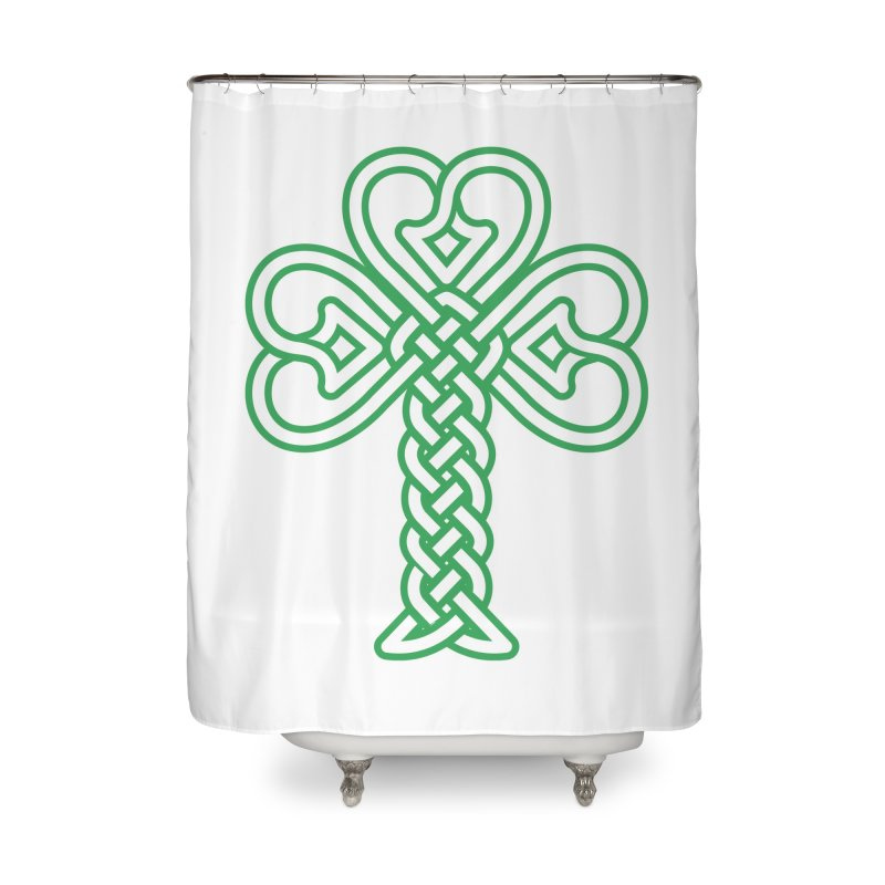 Celtic Shamrock knotwork Home Shower Curtain by Peregrinus Creative