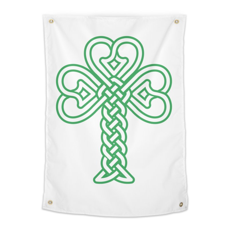 Celtic Shamrock knotwork Home Tapestry by Peregrinus Creative