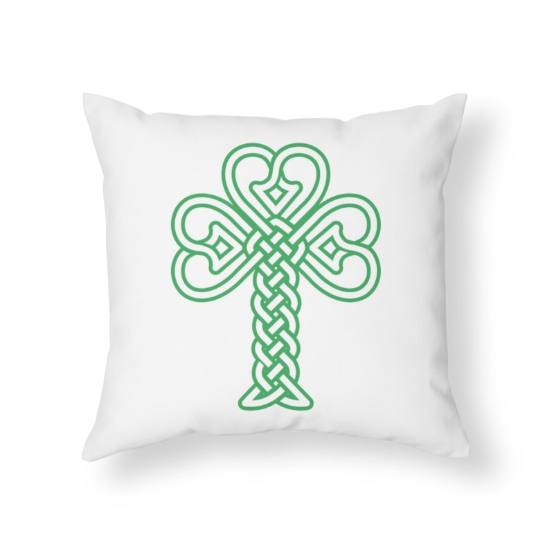 Celtic Shamrock knotwork Home Throw Pillow by Peregrinus Creative