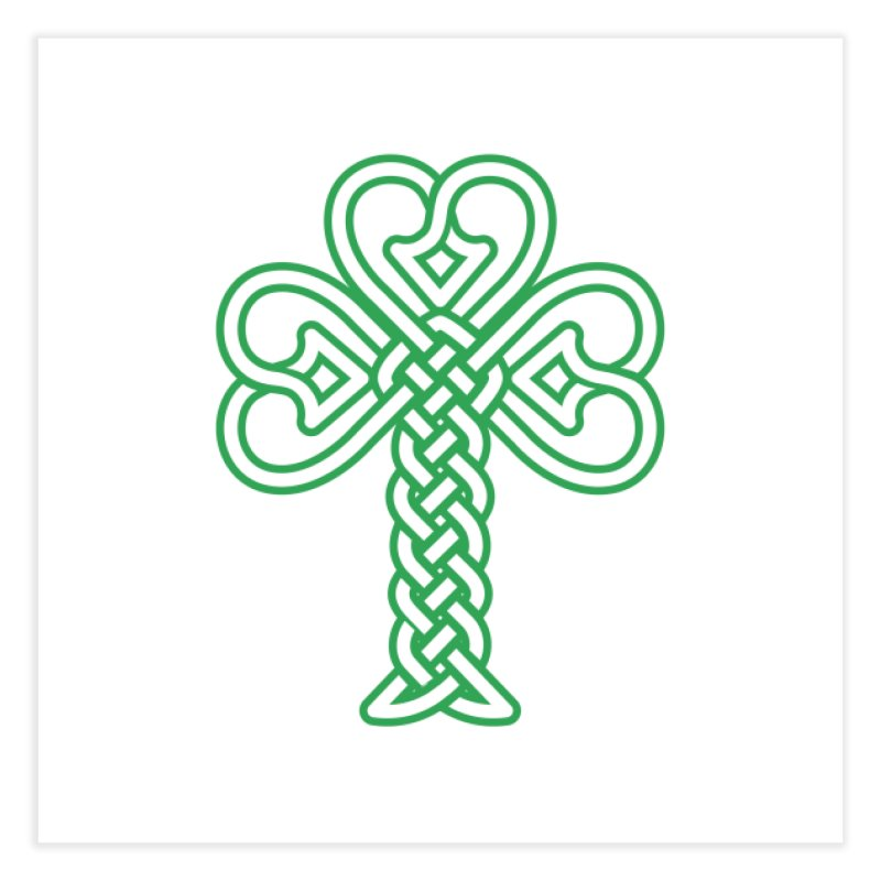 Celtic Shamrock knotwork Home Fine Art Print by Peregrinus Creative