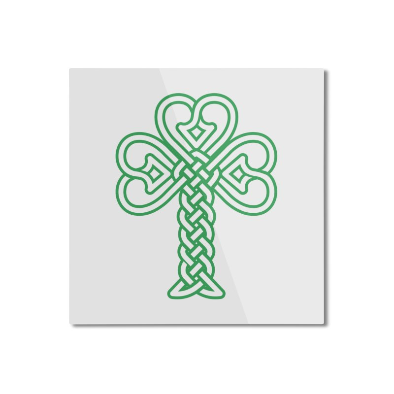 Celtic Shamrock knotwork Home Mounted Aluminum Print by Peregrinus Creative