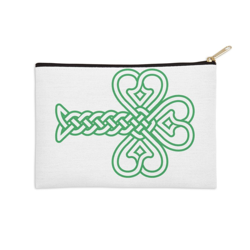 Celtic Shamrock knotwork Accessories Zip Pouch by Peregrinus Creative